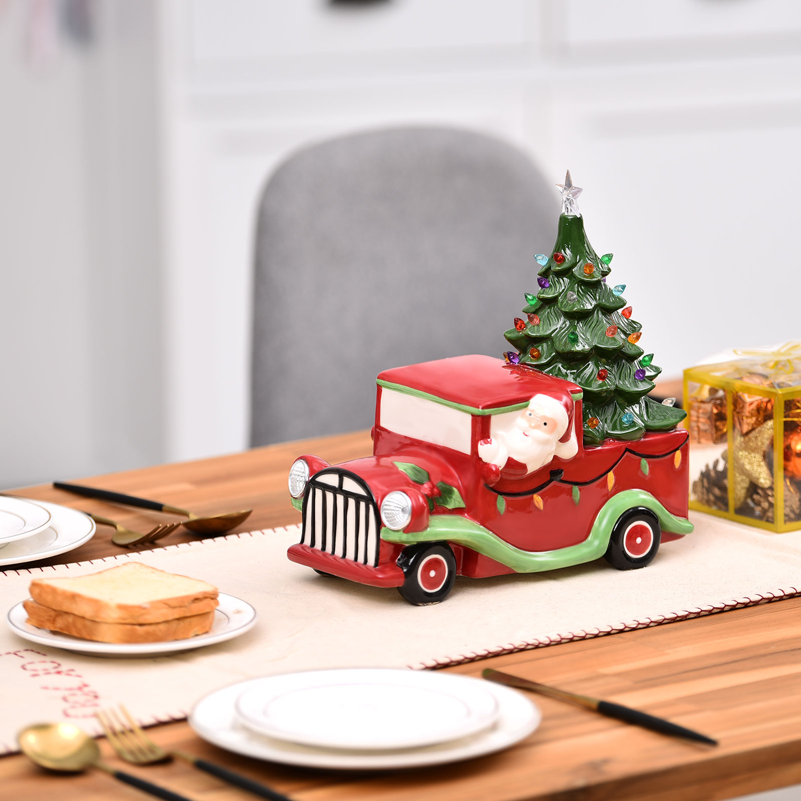 Topbuy Red Truck Christmas Decoration With Santa And Led Tree Pre Lit Vintage Ceramic Tree And Truck W Headlights Walmart Com Walmart Com