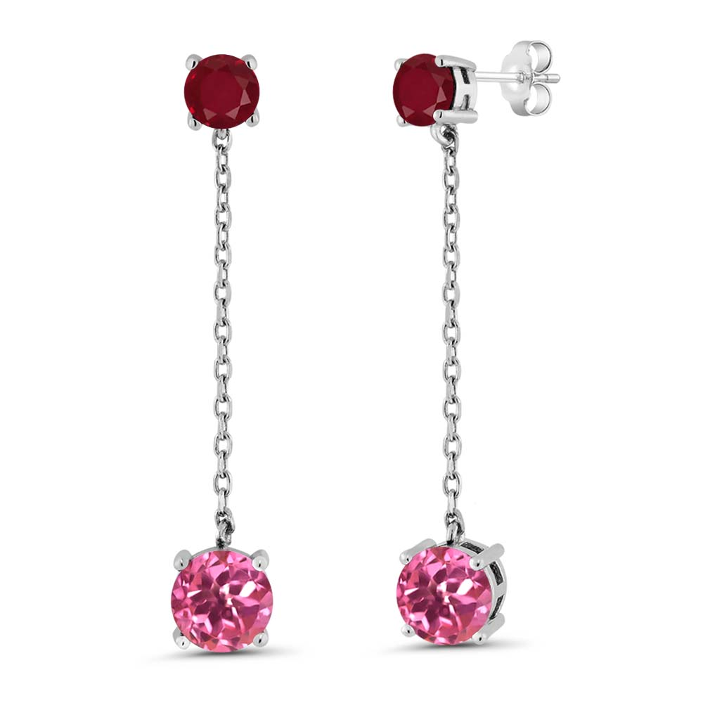 3.70 Ct Round Pink Mystic Topaz Red Ruby 925 Sterling Silver Earrings by