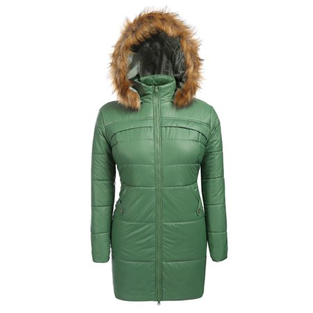 34c1d5953b2f3 Women Plus Size Hooded Long Sleeve Zip-up Channel-Quilted Padded Jacket  HFON - Walmart.com