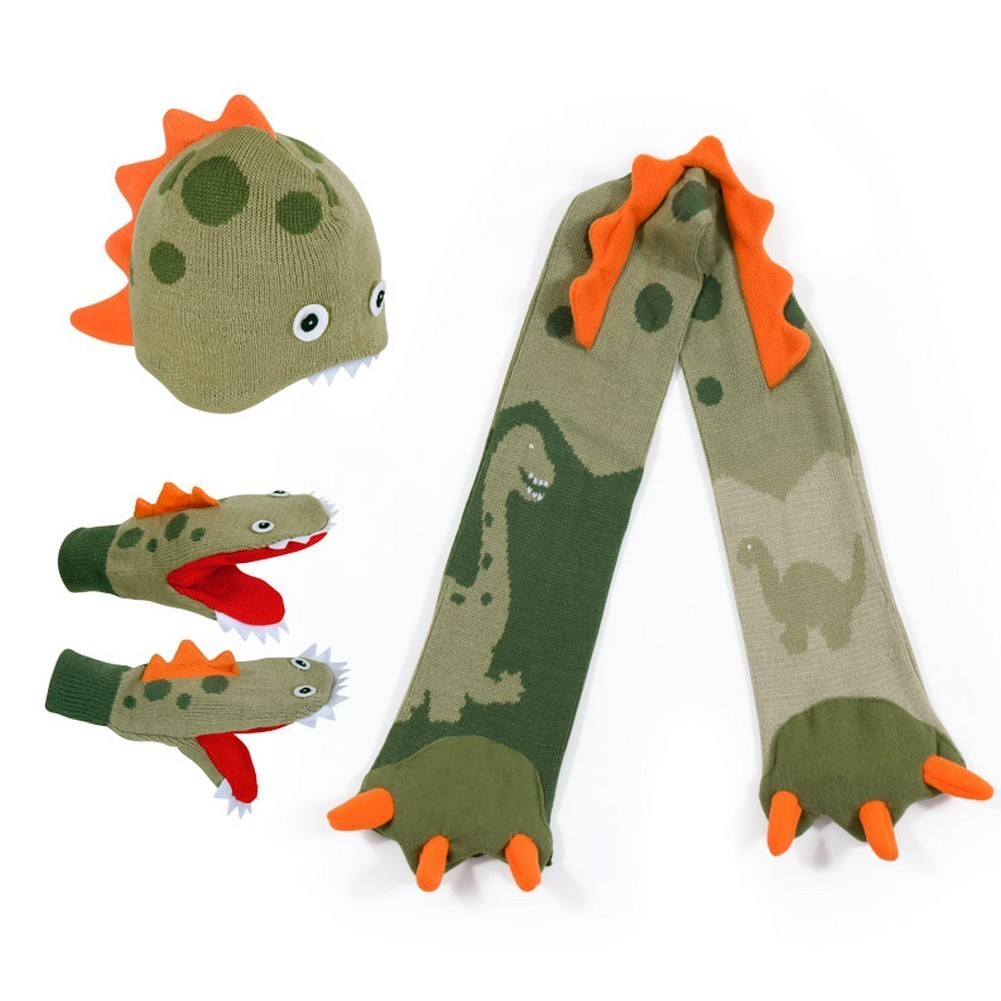 Kidorable Boys Green Dinosaur Hat Scarf Gloves Handmade W...