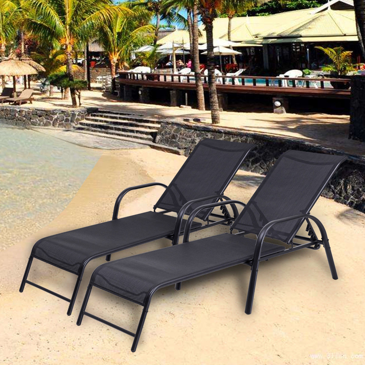 Costway Set of 2 Patio Lounge Chairs Sling Chaise Lounges Recliner Adjustable Back by Costway