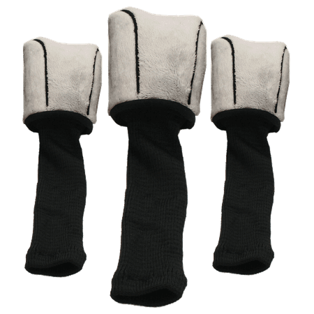 Form-Fit Soft Long Neck Golf Club Headcovers with Dial Numbering System – 3 Pack (Grey)