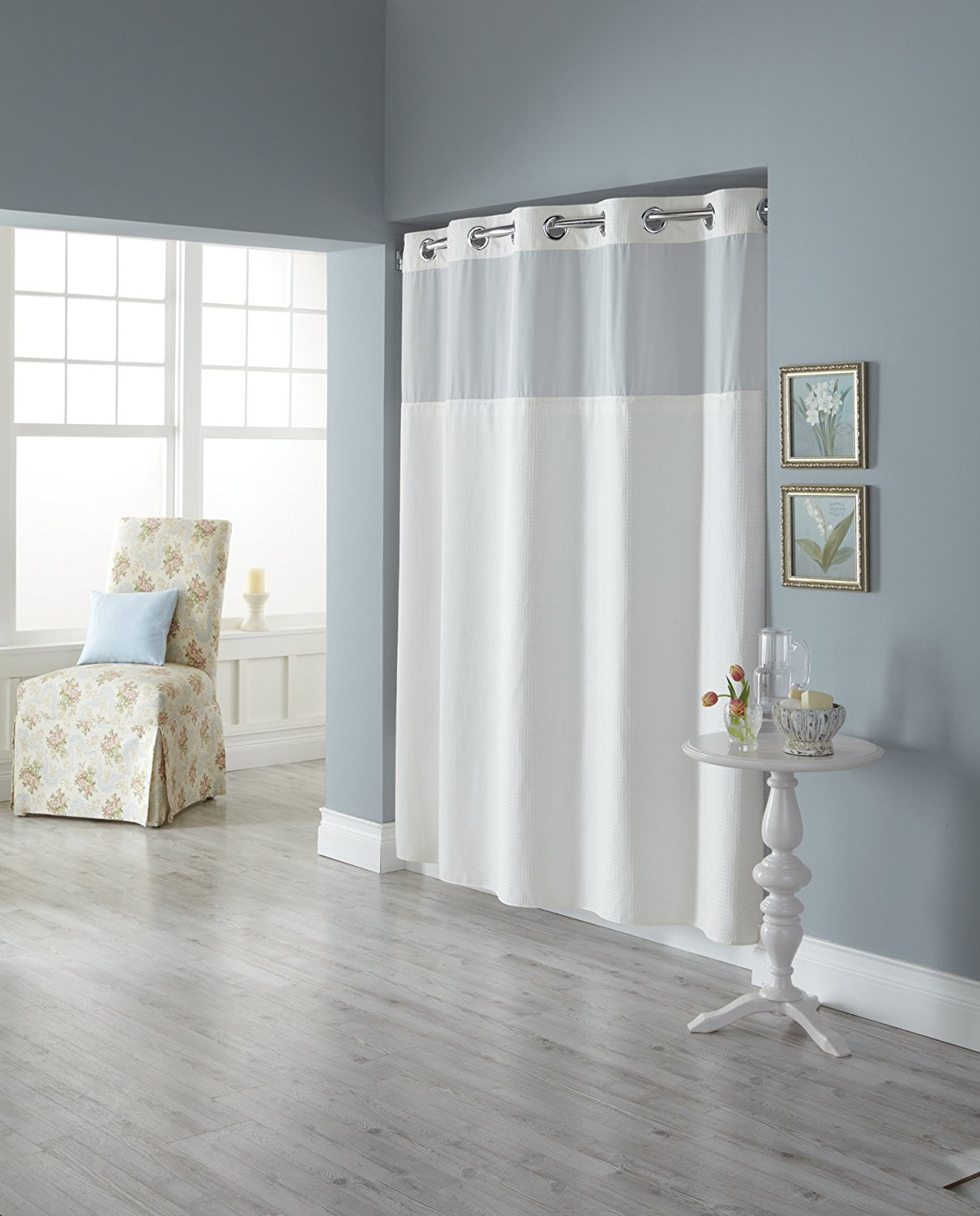 Hookless Rbh82my417 Fabric Shower Curtain With Built In Liner White Diamond Pique Walmart Com