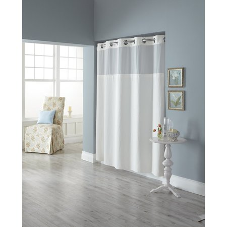 Hookless RBH82MY417 Fabric Shower Curtain with Built in Liner - White Diamond Pique