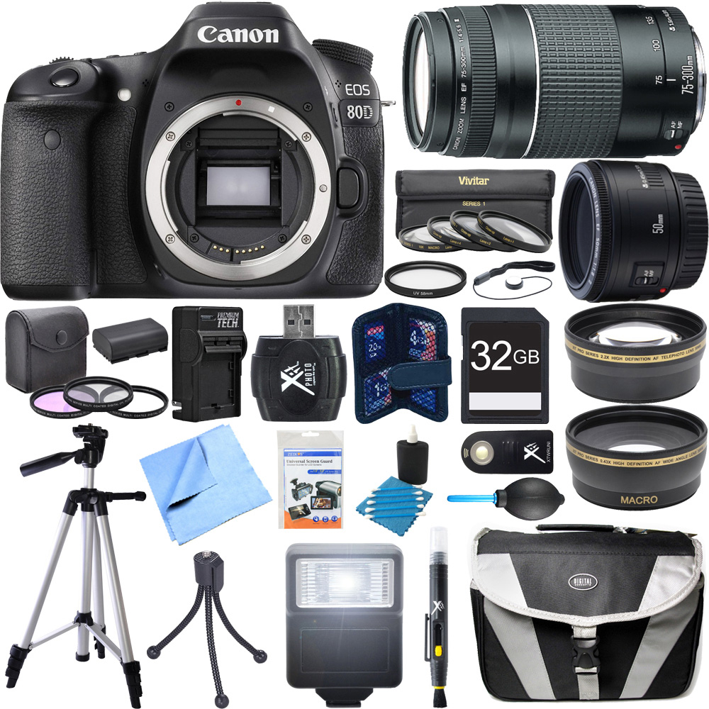 Canon EOS 80D CMOS Digital SLR Camera Super Bundle includes Camera, 50mm Lens, 75-300mm Lens, 58mm Filter Kit, 32GB SDHC Memory Card, Tripod, Gadget Bag, Cleaning Kit, Beach Camera Cloth and More!
