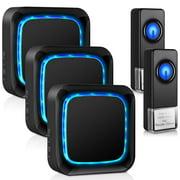 Wireless Doorbell, Waterproof Door Bells & Door Chimes Wireless Kit, Doorbell Chimes Wireless Doorbell for Home/Office,Over 1000 Ft Range,58 Chimes,5 Volume Levels with LED,Black