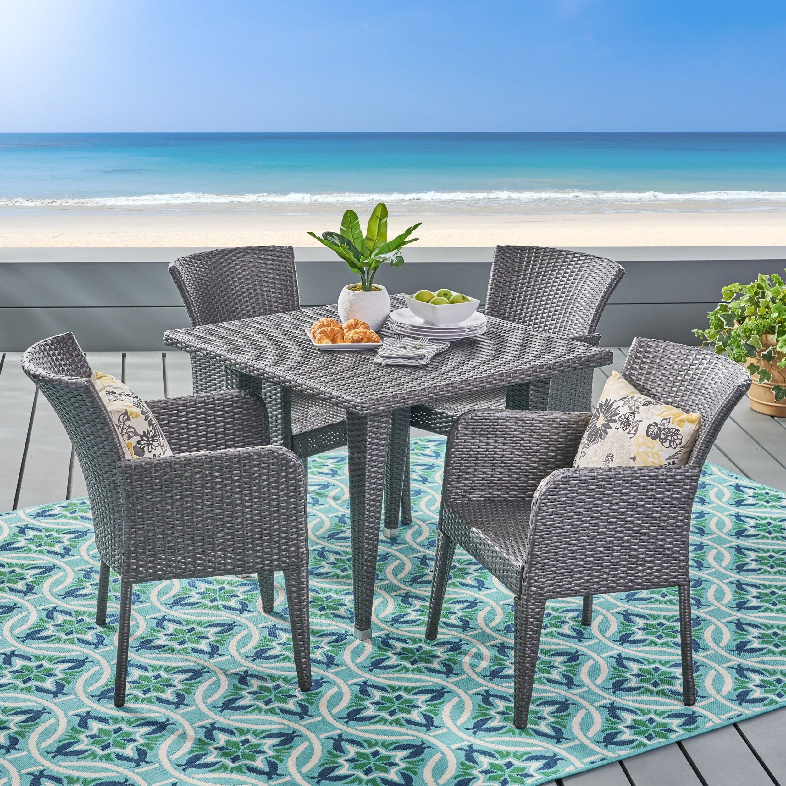 Christopher Knight Home Anaya Outdoor 5-piece Wicker Dining Set by