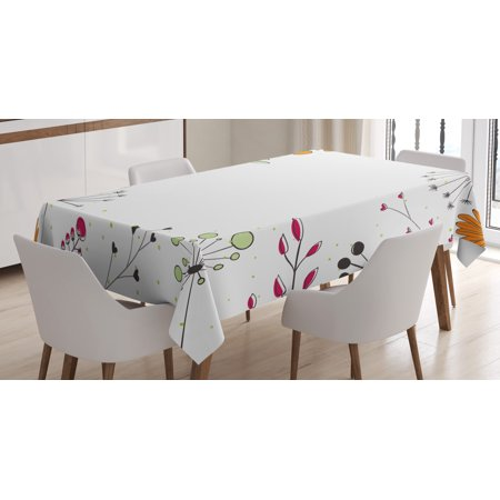 Rectangular Amber Ring - Modern Decor Tablecloth, Floral Branches with Geometric Flowers Art Print, Rectangular Table Cover for Dining Room Kitchen, 52 X 70 Inches, White Magenta Amber Pistachio Green, by Ambesonne