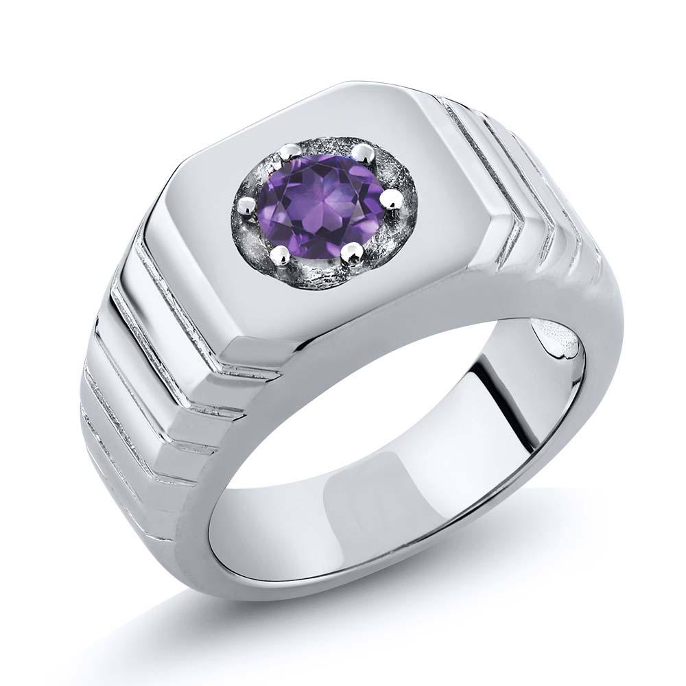 4.00 Ct Round Purple VS Amethyst 14K White Gold Men's Solitaire Ring