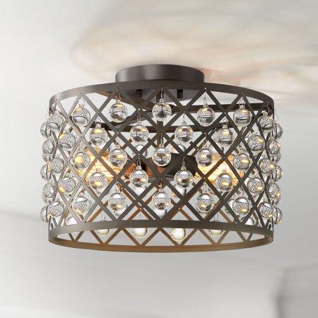 Barnes and Ivy Ceiling Light Semi Flush Mount Fixture Bronze 15