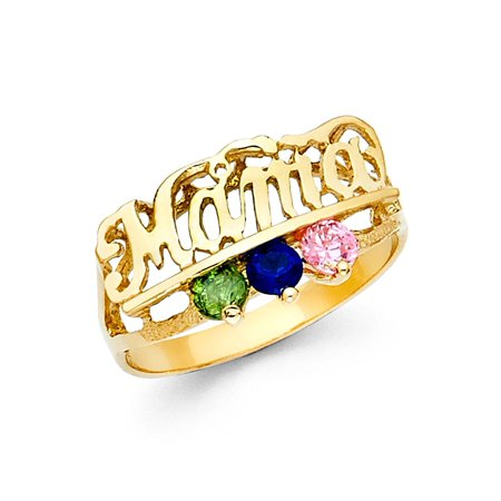 Multi Stone Band (CZ Mama Ring Solid 14k Yellow Gold Band Mothers Day Multi Color CZ Three Stone Stylish)