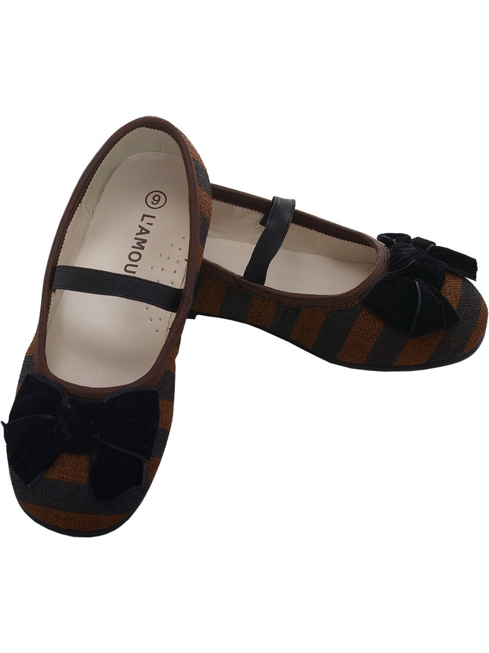 L 'Amour Brown Black Stripe Bow Slip On Dress Shoes Little Girls 11-4