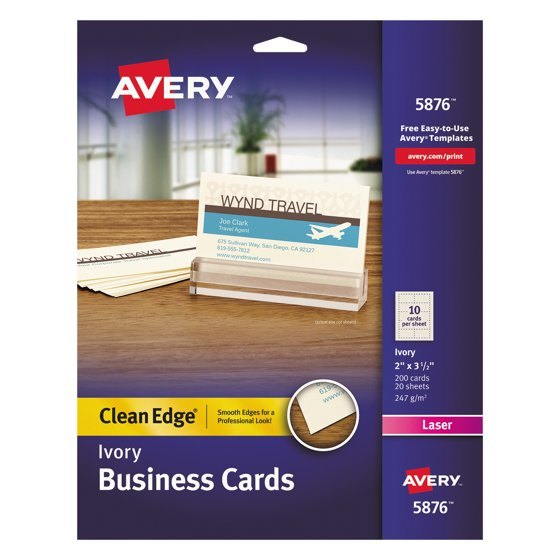 Avery clean edge business cards laser 2 x 3 12 ivory 200pack avery clean edge business cards laser 2 x 3 12 ivory 200pack walmart reheart Image collections