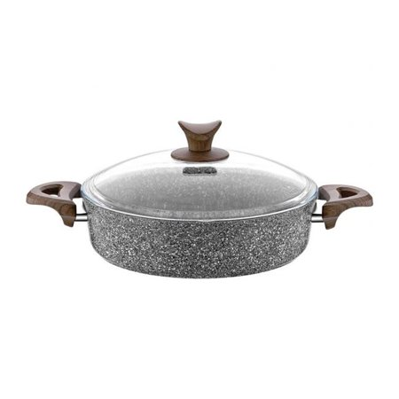 Discount World HD-PT-3130 10 in. Granite Plus Wood Handle Shallow Pot with Glass Lid, Gray ()