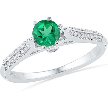 Simulated Diamond Wedding Band Ring (Size - 7 - Solid 10k White Gold Round Green Simulated Emerald And White Diamond Engagement Ring OR Fashion Band Prong Set Solitaire Shaped Ring (.15 cttw) )