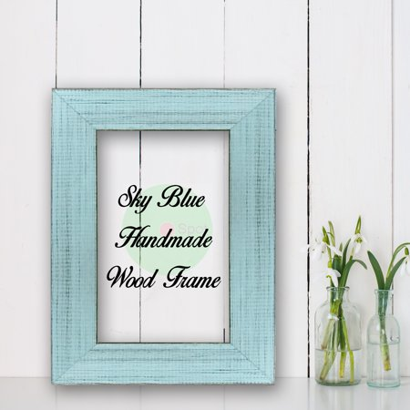 Sky Blue Cottage Beach Decor Wood Frame Perfect for Picture Photo Poster Wedding Art Artwork Handmade ()