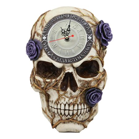 Ebros Decorative Gothic Macabre Grinning Skull with Purple Rose Vines Reverse Wall Clock with Roman Numerals Figurine 10.5