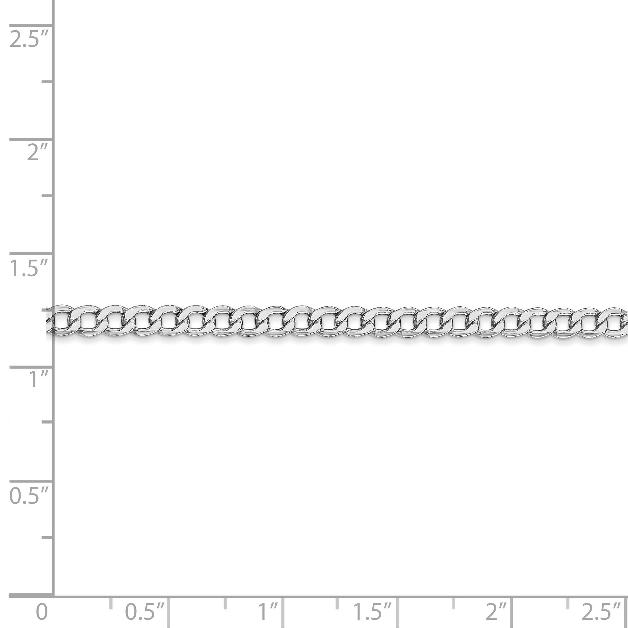 14K White Gold 3.35mm Semi-Solid Curb Link Chain - image 1 de 2