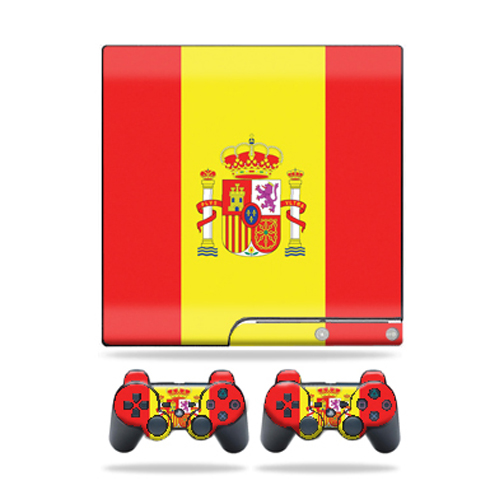 Mightyskins Protective Vinyl Skin Decal Cover for Sony Playstation 3 PS3 Slim skins + 2 Controller skins Sticker Spain Flag