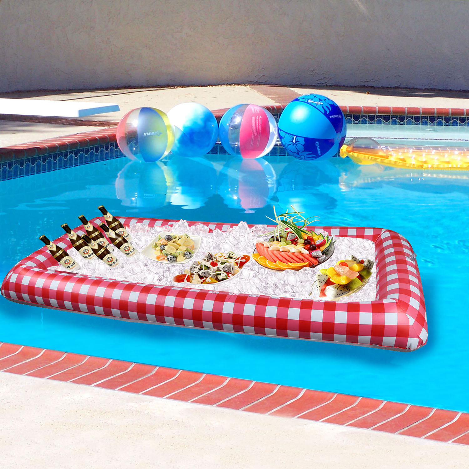 iMounTEK Inflatable Ice Buffet Bar for Outdoor Picnics/Parties/Get Togethers/Pools (Portable Serving Bar, Blow Up, Lightweight, Pump Included, Classic Picnic Table Look) - Checkered Pattern