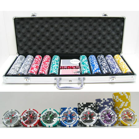 13.5g 500 pc High Roller Clay Poker Chips w/ Laser Effects Double Suit Clay Poker Chip