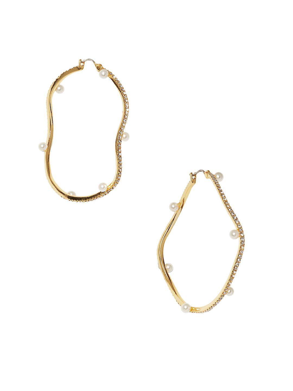 Ivory Faux Pearl and Crystal Wave-Shaped Hoop Earrings