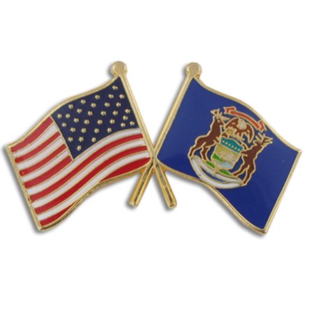 PinMart's Michigan and USA Crossed Friendship Flag Enamel Lapel