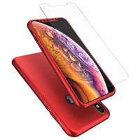 iPhone Case, Case For iPhone, iPhone Case With Screen Protector, Tekcoo [Red] Ultra Thin Full Protection Anti-Scratch Hard Slim Cover Shell w/Tempered Glass Screen Protector Cover Skin