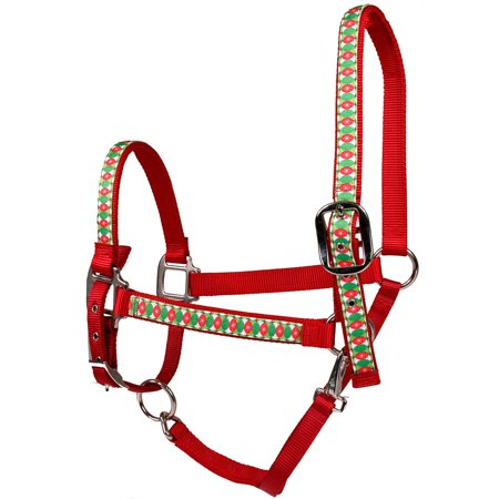 Christmas Horse Tack.Red Haute Horse Christmas Cheer On Red Nylon Horse Halter