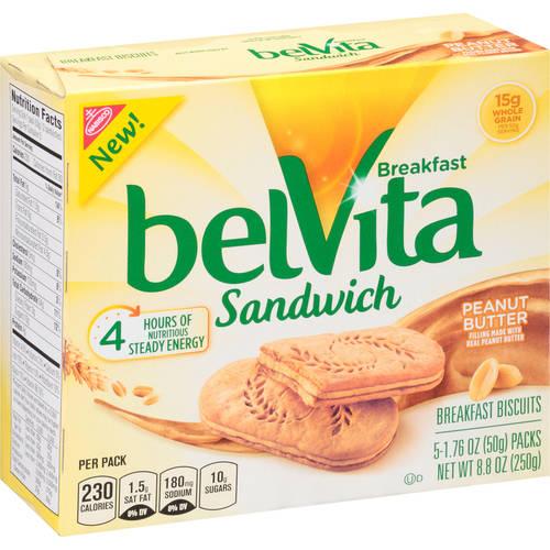 Nabisco belVita Breakfast Sandwich Peanut Butter - 5 PK, 1.76 OZ