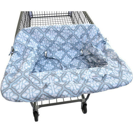 JJ Cole Shopping Cart Cover With a reversible cotton print on one side and wipeable nylon on the other, the JJ Cole Shopping Cart Cover is sure to provide protection for baby. Not only does it cover the entire shopping cart seat as a barrier against germs, but it doubles as a restaurant high chair cover! The JJ Cole Shopping Cart Cover can be installed quickly and easily with one hand, freeing up your other arm to hold onto baby. Built-in straps keep baby clean and secure, while also staying entertained when baby's favorite toy is attached to the built in loop.
