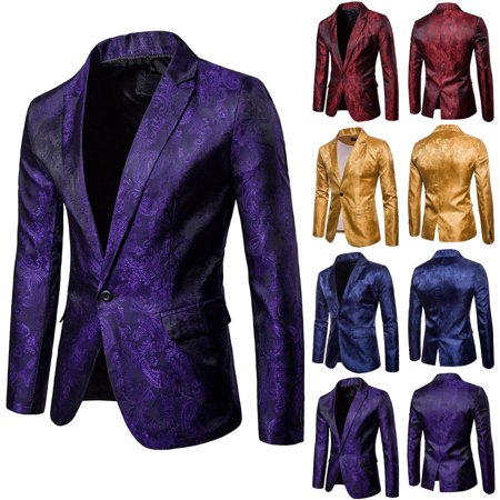 Buttoned Blazer - Stylish Men's Casual Slim Fit Formal One Button Suit Blazer Coat Jacket Tops