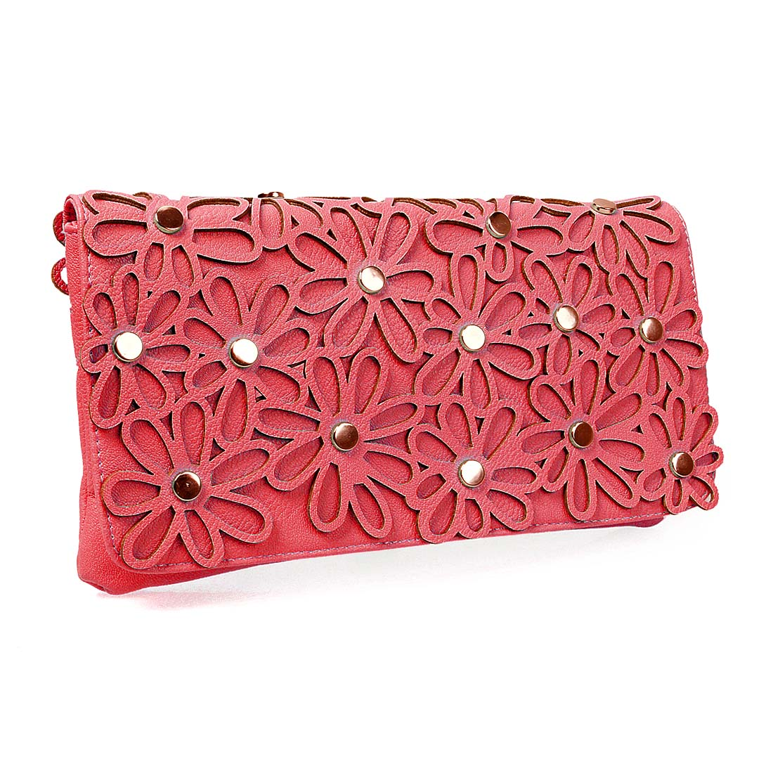 BMC Fashionable Faux Leather Daisy Style Cutout Design Statement Clutch Handbag