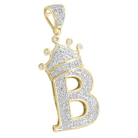 King Crown Initial Letter B Pendant 10k Yellow Gold Alphabet Charm Real Diamonds
