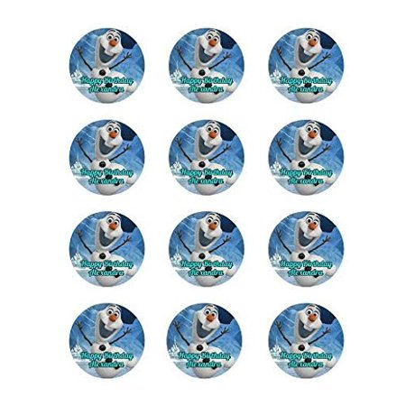 Frozen 12 Cupcake Toppers Elsa Anna Edible Image Photo Cake Topper Sheet Personalized Custom Customized Birthday Party - 2.5 Inch (12 Toppers) - - Frozen Cupcakes Toppers