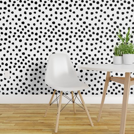 Removable Water-Activated Wallpaper Dots Black White Polka Dot