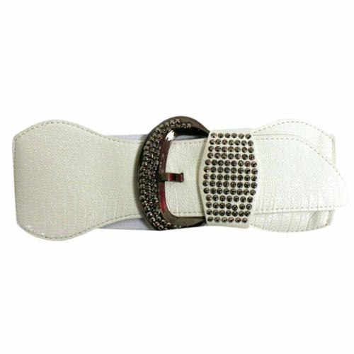 luxury divas white wide elastic stretch belt with