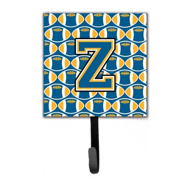 Carolines Treasures CJ1077-ZSH4 Letter Z Football Blue & Gold Leash or Key Holder, 6 x 1.25 x 4.25 in. - image 1 of 1