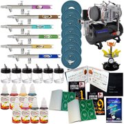 6 AIRBRUSH PRO TEMPORARY TATTOO-COMPRESSOR-STENCIL KIT