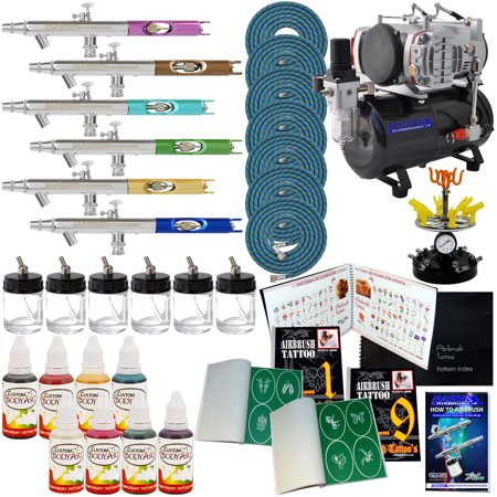 6 Airbrush Pro Temporary Tattoo Compressor Stencil Kit