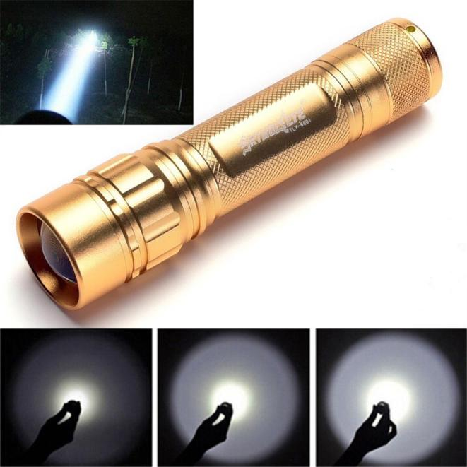 Zoomable 3000 Lumen 3 Modes CREE XML XPE LED Focus 18650 Gold Flashlight