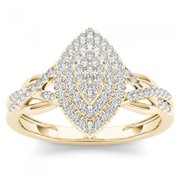 1/4ct TW Diamond 10K Yellow Gold Marquise Shaped Cluster Halo Ring