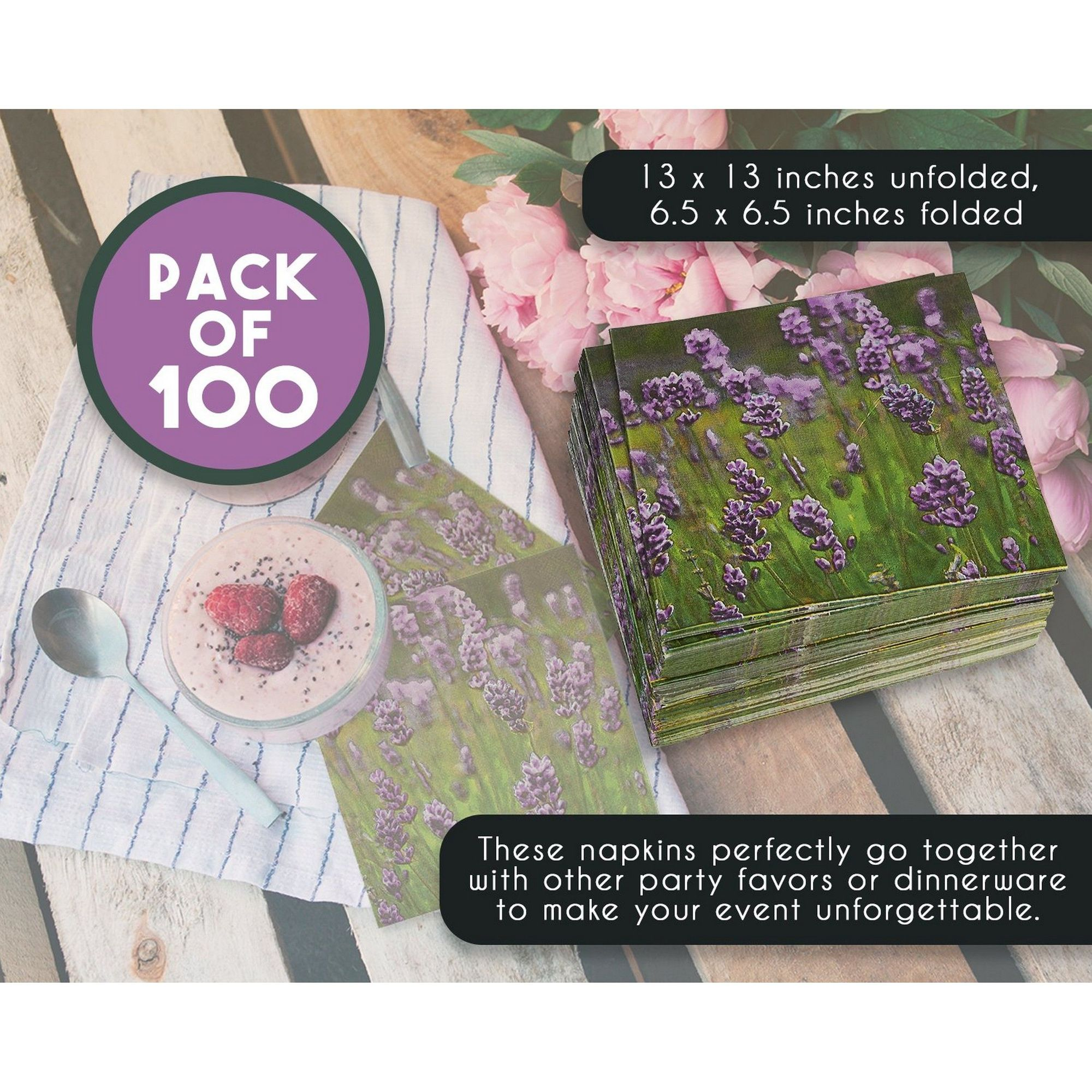100 Pack Floral Paper Napkins Disposable Lunch Napkins With Purple Lavender Flower Decorative Design For Birthday Wedding Tea Party Supplies And Decorations 6 5 Inches Folded Walmart Com Walmart Com