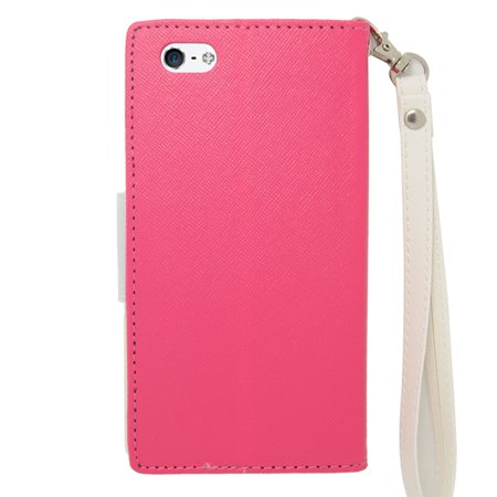 Insten Leather Cover Case with Lanyard & Photo Display For Apple iPhone 6s / 6 - Pink/White - image 1 of 4