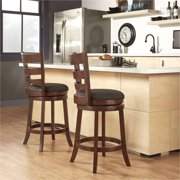 Weston Home Ladder Back Swivel Counter Height Stool, Dark Cherry, Multiple Colors