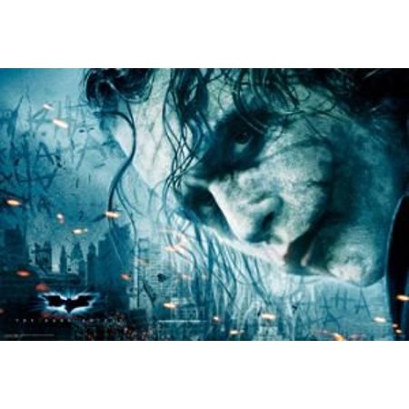 Dark Knight Poster Heath Ledger Batman Joker Face New 24x36 - Heath Ledger Joker Wig
