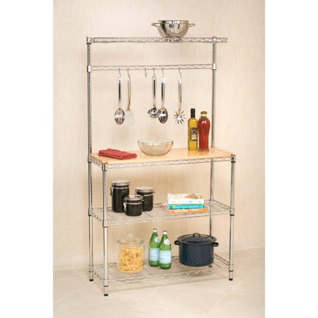 Grace Collection Brass Bakers Rack - Ktaxon 4 Layer Kitchen Baker Rack Shelf Microwave Stand Storage Cart w/ Cutting Board