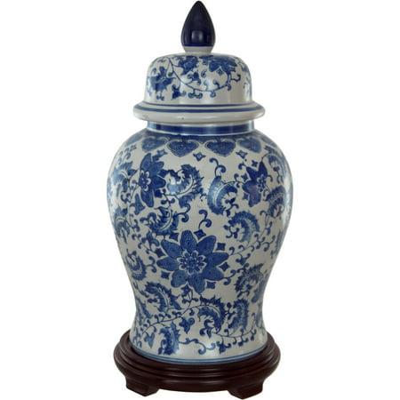 18 Fl Blue White Porcelain Temple Jar