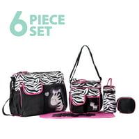 SoHo Tote Diaper Bag, Zebra, Pink, 6 Piece Set
