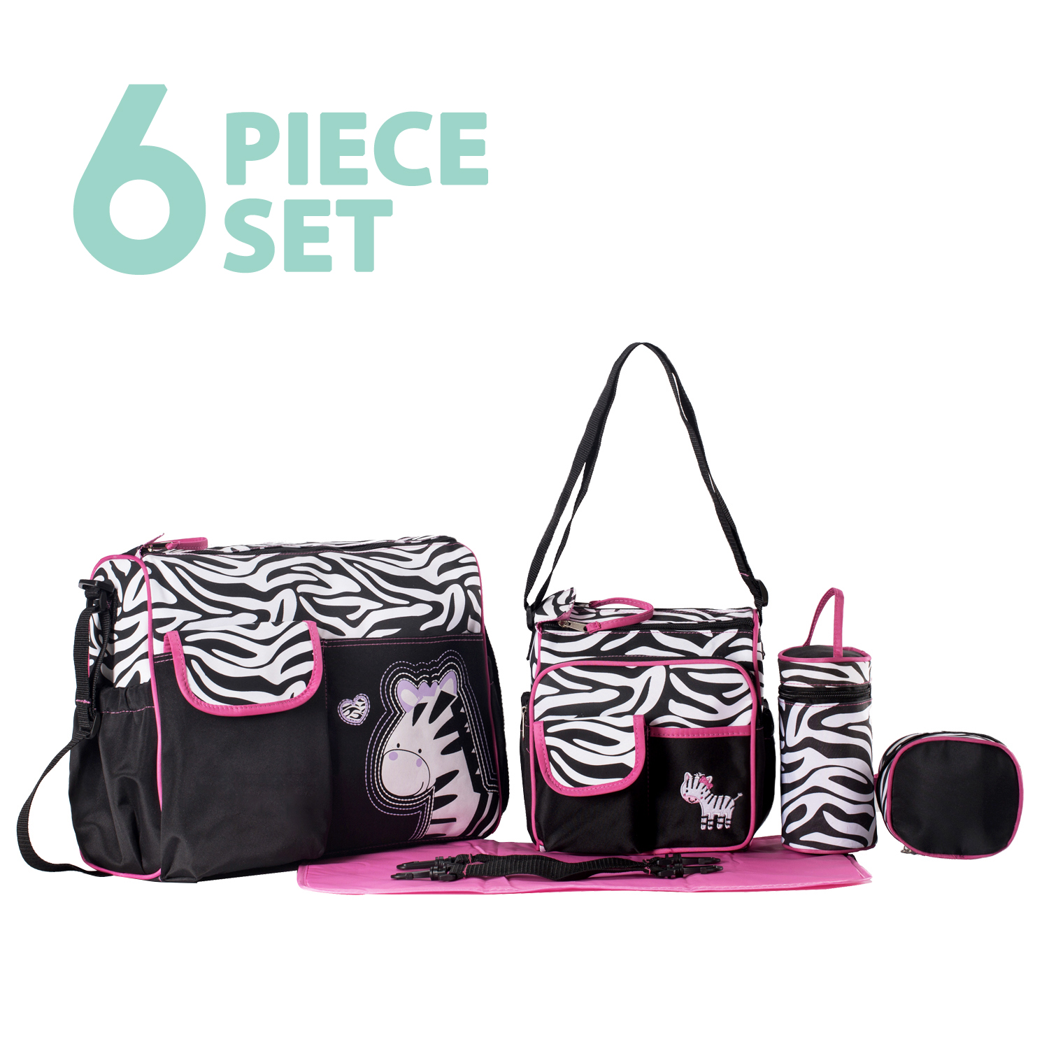 SoHo Collections, Large Tote Diaper Bag with Stroller Straps and Diaper Pad, 6 Piece Complete Set, Zebra